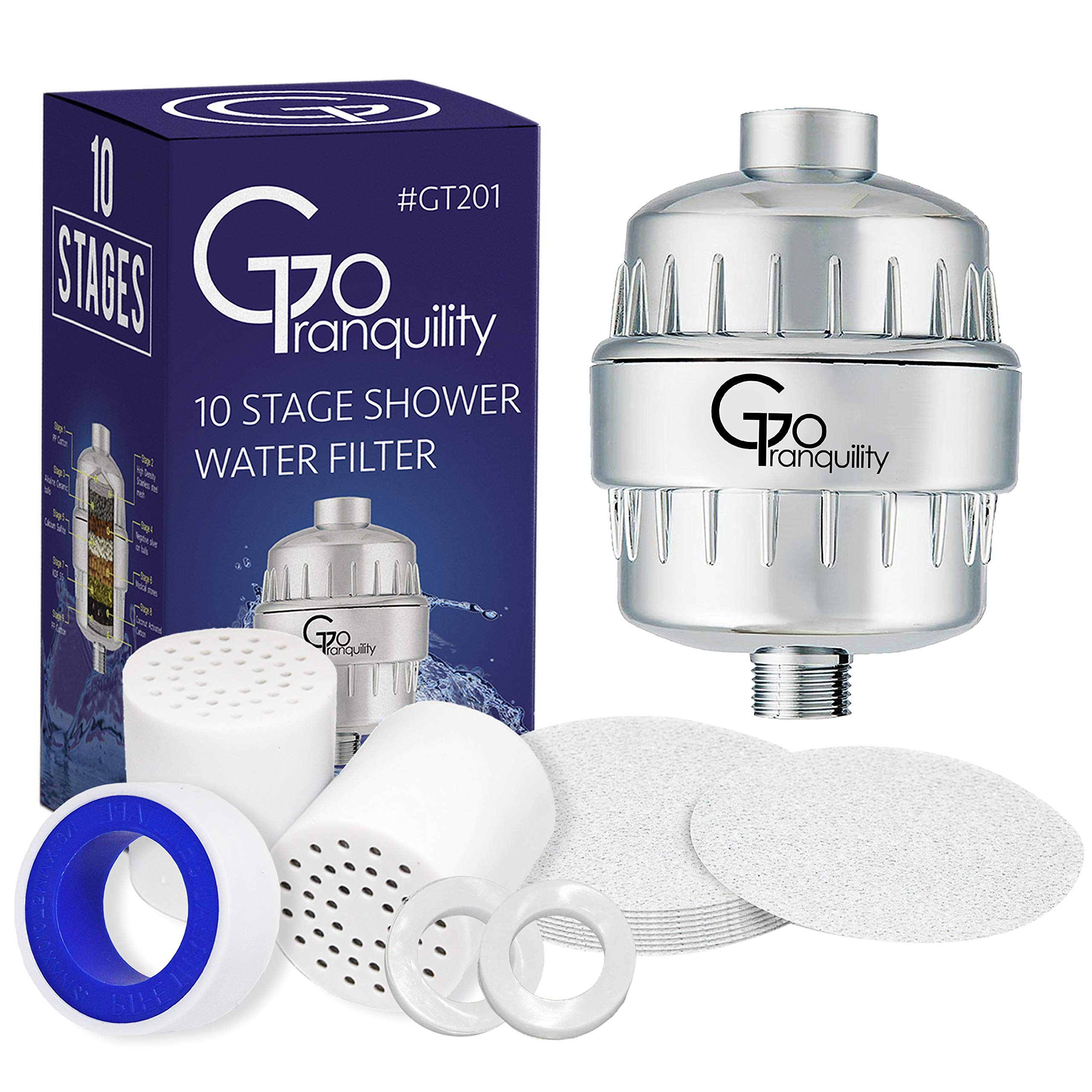 Shower Head Chlorine Filter & Hard Water Softener With Replacement Cartridge Prevents Hair & Skin Dryness Universal Showerhead System by GoTranquility (Image #1)