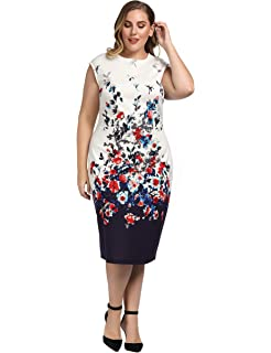 9b05bd29a29 Chicwe Women s Stretch Plus Size Floral Print Shift Dress with Cap Sleeves  1X-4X