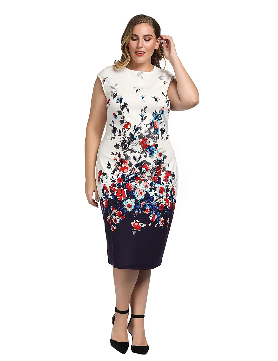 Chicwe Women\u0027s Plus Size Cap Sleeves Stretch Floral Printed Shift Dress ,  Knee Length Casual Party Cocktail Dress