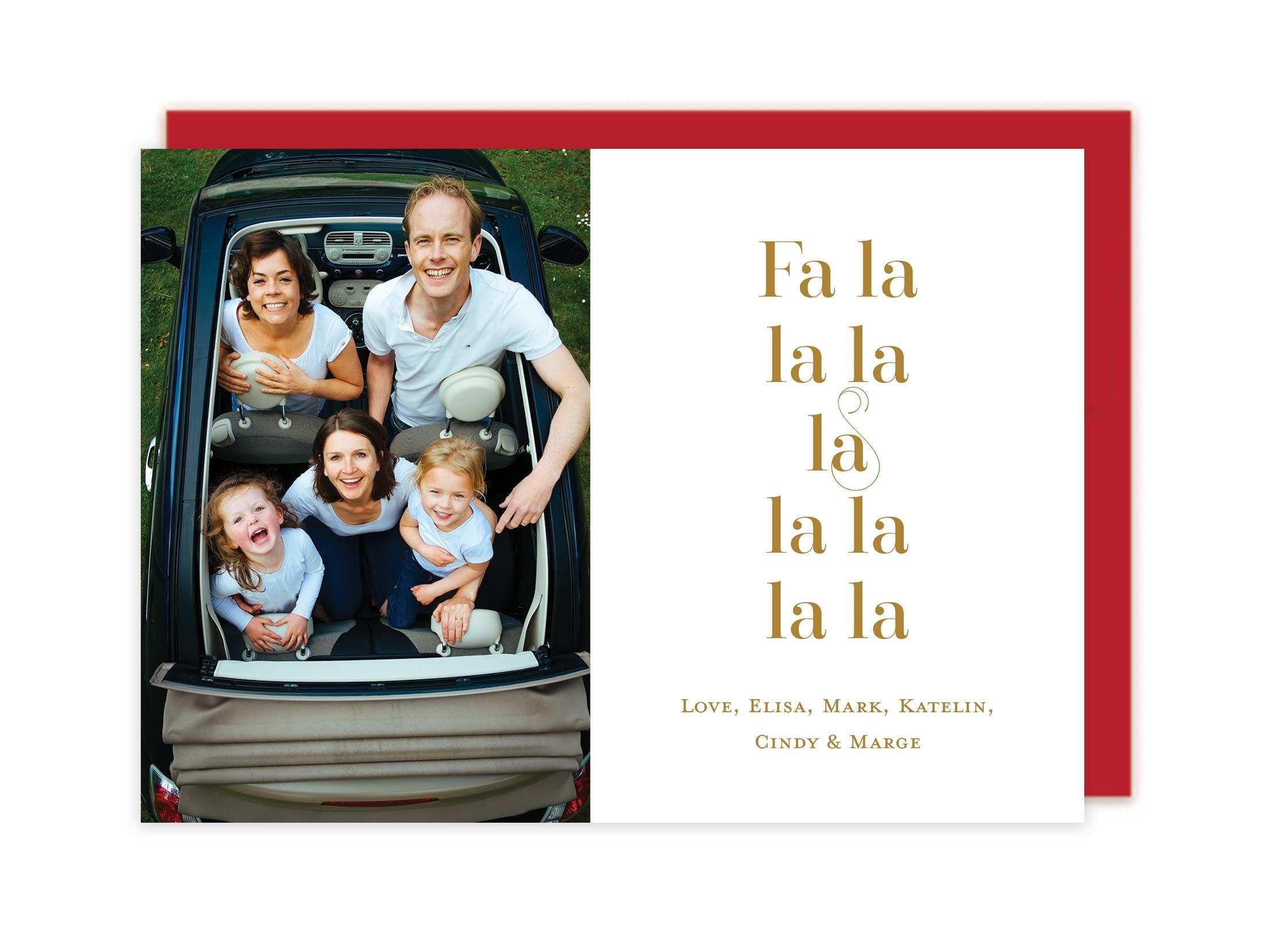 Letterpress Photo Christmas Cards - Fa la la