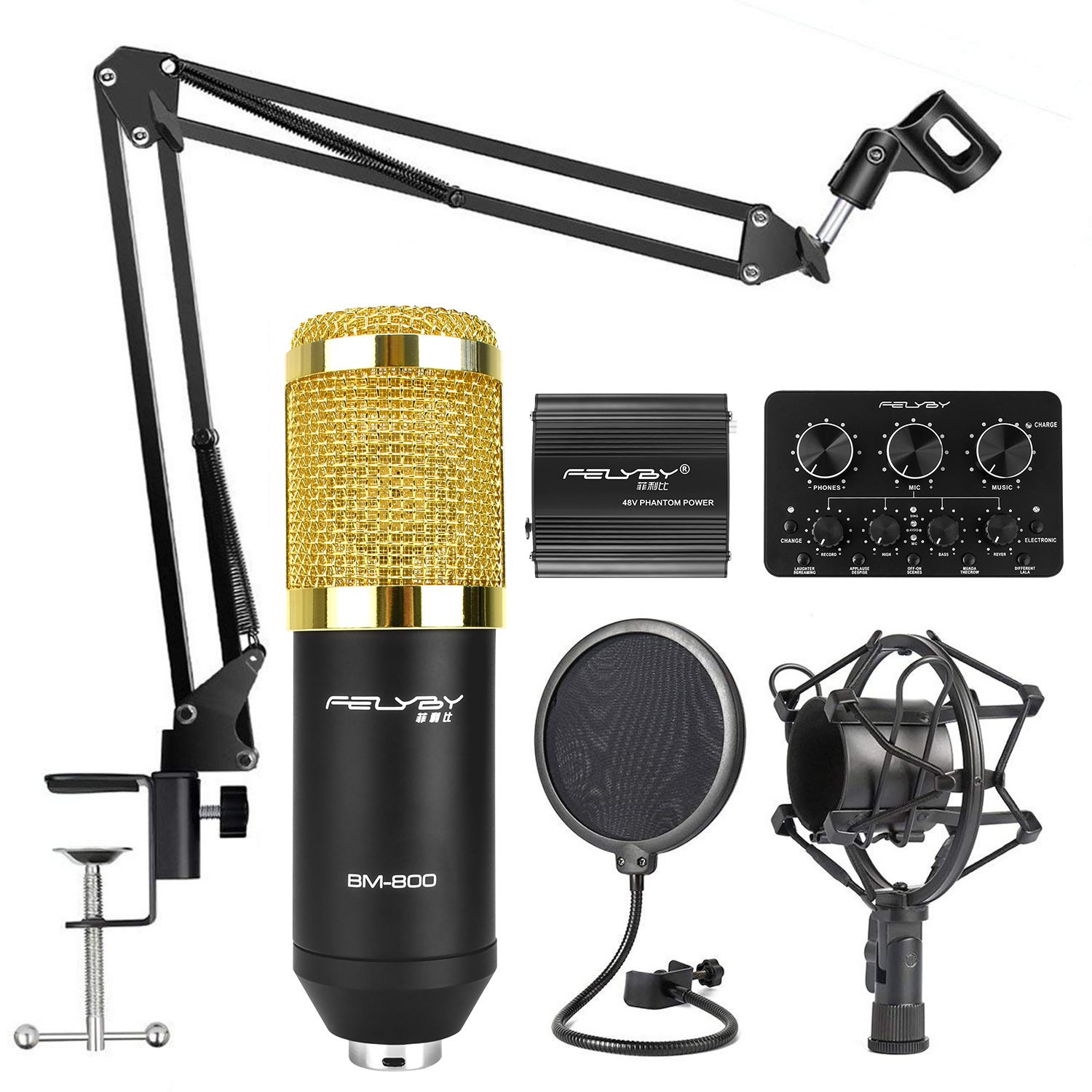 FELYBY Condenser Microphone Bundle, BM-800 Mic Kit with New Version Sound Card, Adjustable Mic Suspension Scissor Arm, Metal Shock Mount and Double-layer Pop Filter for Studio Recording & Broad(Black)