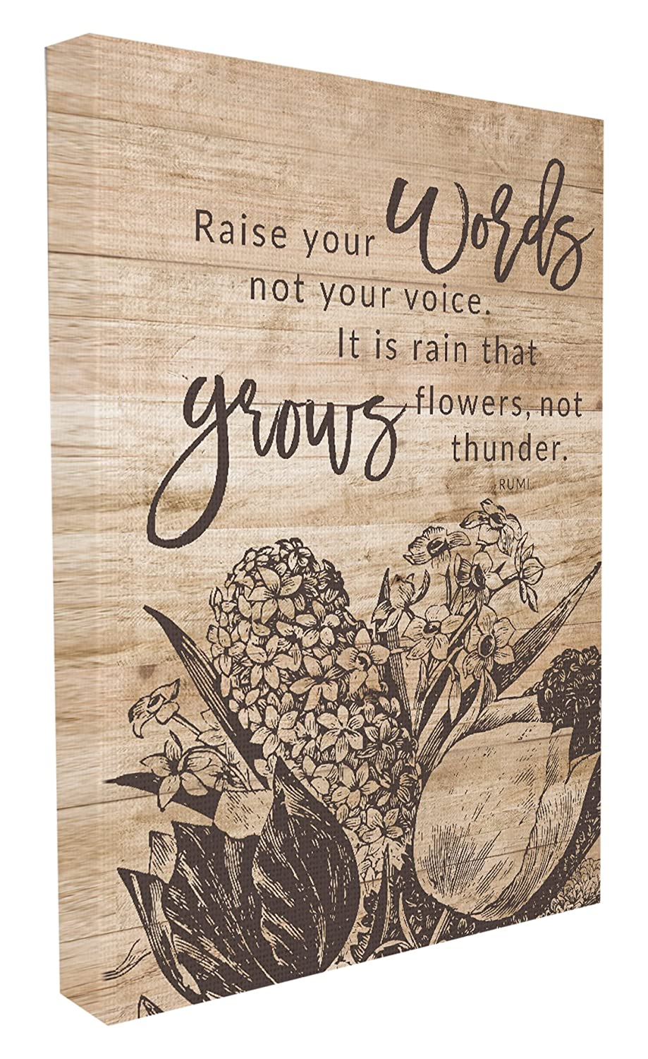 24 x 1.5 x 30 Stupell Home D/écor Rain Grows Flowers Rumi Quote Oversized Stretched Canvas Wall Art Proudly Made in USA