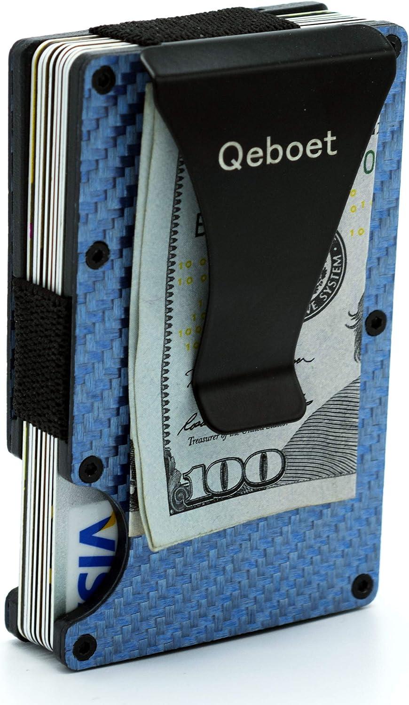 tarjetero de metal con doble funda Tarjetero con protecci/ón RFID billetera inteligente delgada para 10 tarjetas