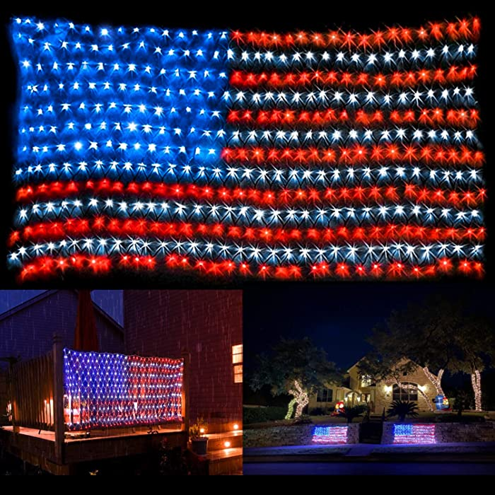 American Flag Lights with 420 Super Bright LEDs,Waterproof Led Flag Net Light of The United States, Hanging Ornaments for Christmas Party Independence Day, Memorial Day, July 4th Decoration