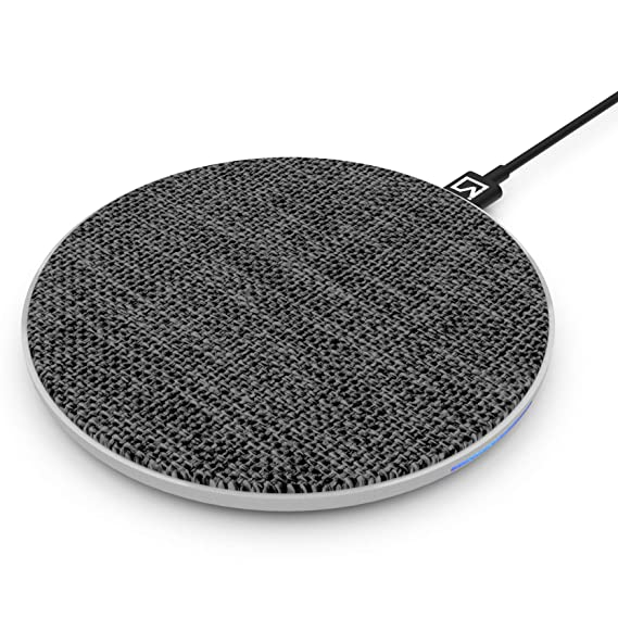 iVoltaa Airbase1 10W Wireless Charging Pad for Apple and Android  Fabric Top Black  Induction Chargers