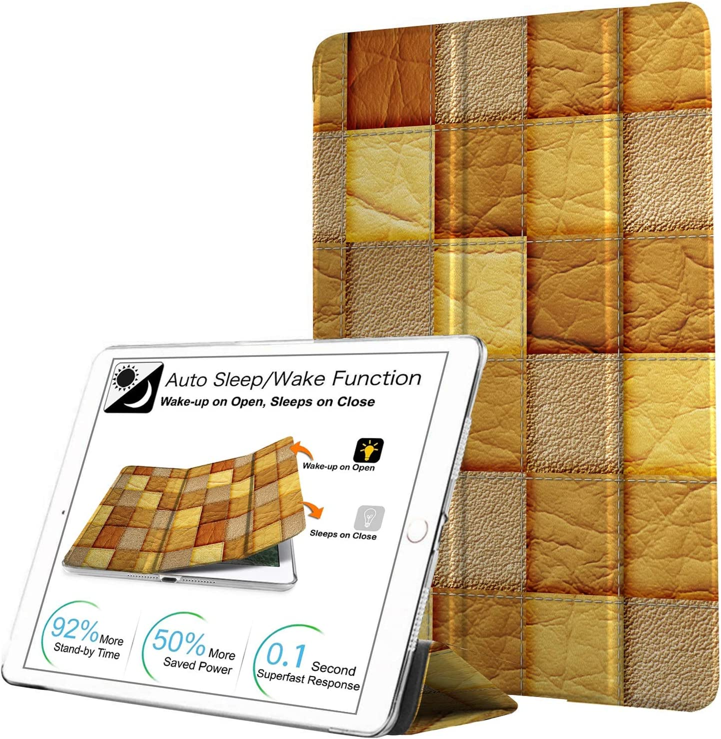 DuraSafe Cases for iPad Air 1st Gen 2013 - 9.7 Slimline Series Lightweight Protective Cover with Dual Angle Stand & Clear PC Back Shell - Brown Patchwork