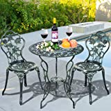 Giantex 3 Piece Bistro Set Cast Rose Design Antique Outdoor Patio Furniture Weather Resistant Garden Round Table and…
