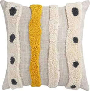 VANNCIO Boho Tufted Throw Pillow Cover with Handwoven Stripes, Linen Cotton Simple Decorative Cushion Case for Couch Sofa, 18x18 inches, 1 PCS (Yellow Beige)