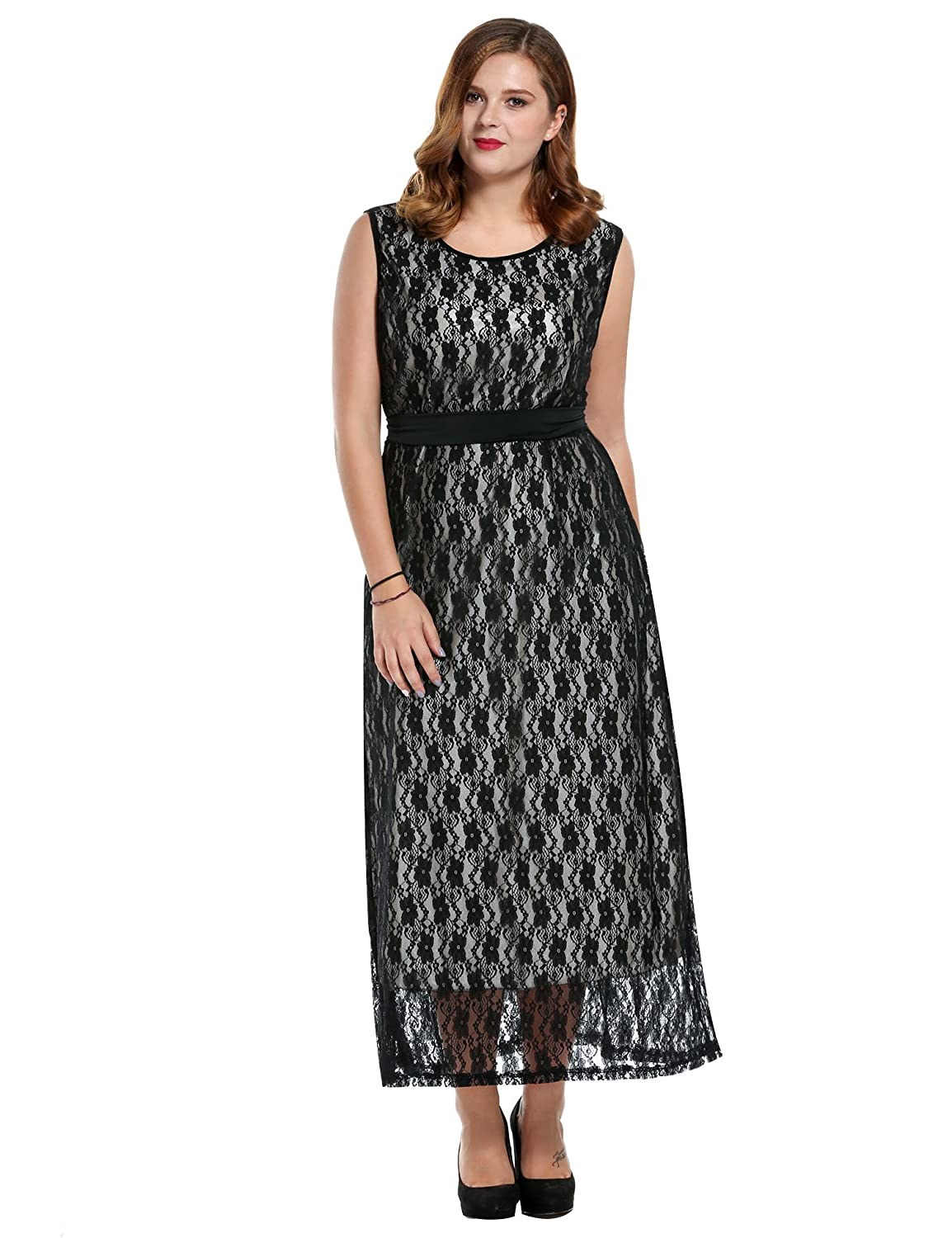 Meaneor Women Plus Size Floral Lace Belted Elegant Homecoming Maxi Dress, 1X-4X #MAH005761