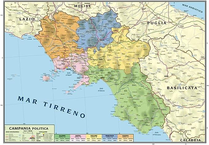 Mar Mediterraneo Cartina Politica.Carta Geografica Murale Regionale Campania 100x140 Bifacciale Fisica E Politica Amazon It Cancelleria E Prodotti Per Ufficio