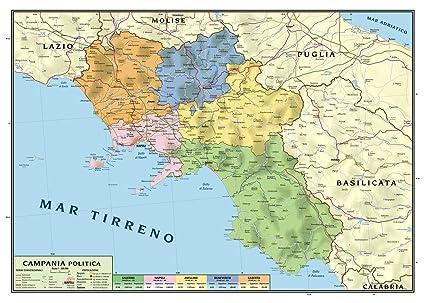 Cartina Lazio E Campania.Carta Geografica Murale Regionale Campania 100x140