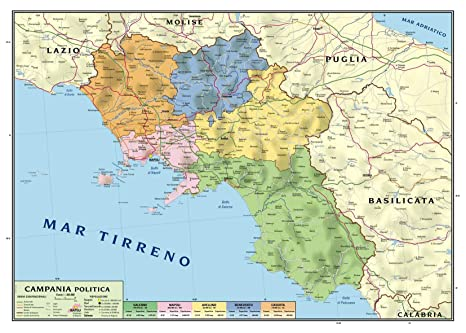 Regione Campania Cartina Geografica.Carta Geografica Murale Regionale Campania 100x140