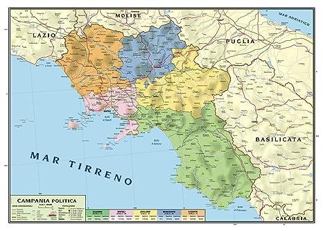 Cartina Geografica Fisica Lazio.Carta Geografica Murale Regionale Campania 100x140