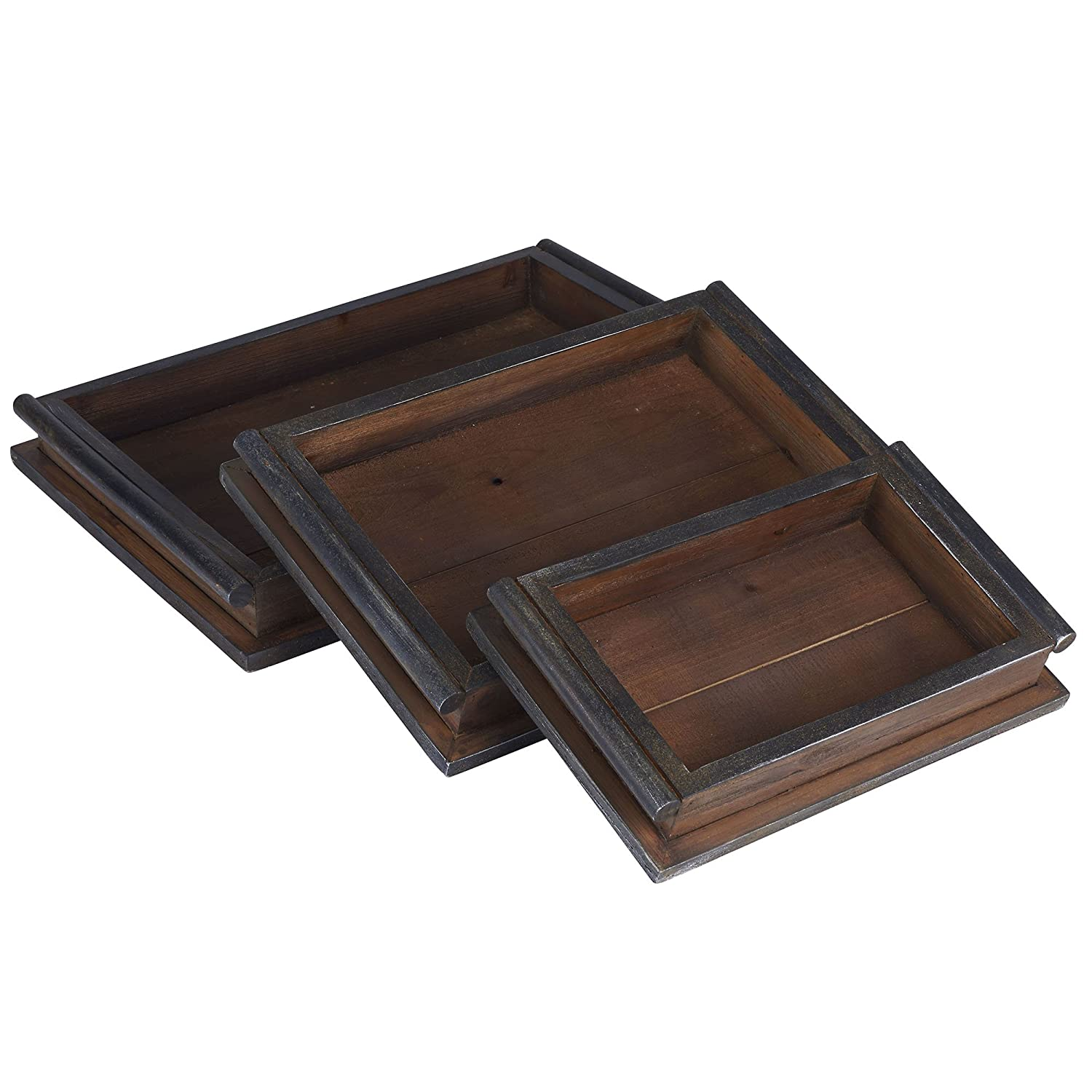 Household Essentials 9720-1 Rustic Wooden 3 Piece Decorative Trays