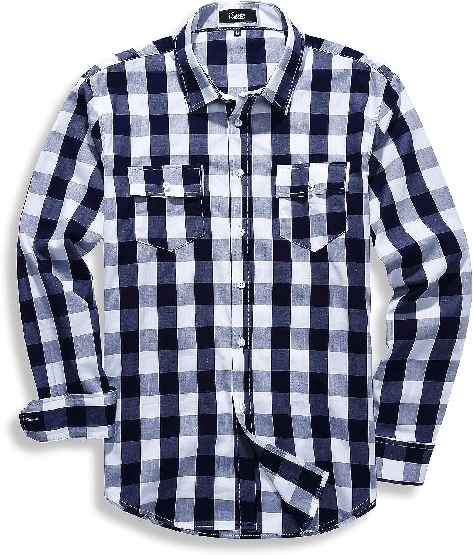 iClosam Mens Long Sleeve Casual Western Plaid Snap Button Down Shirt