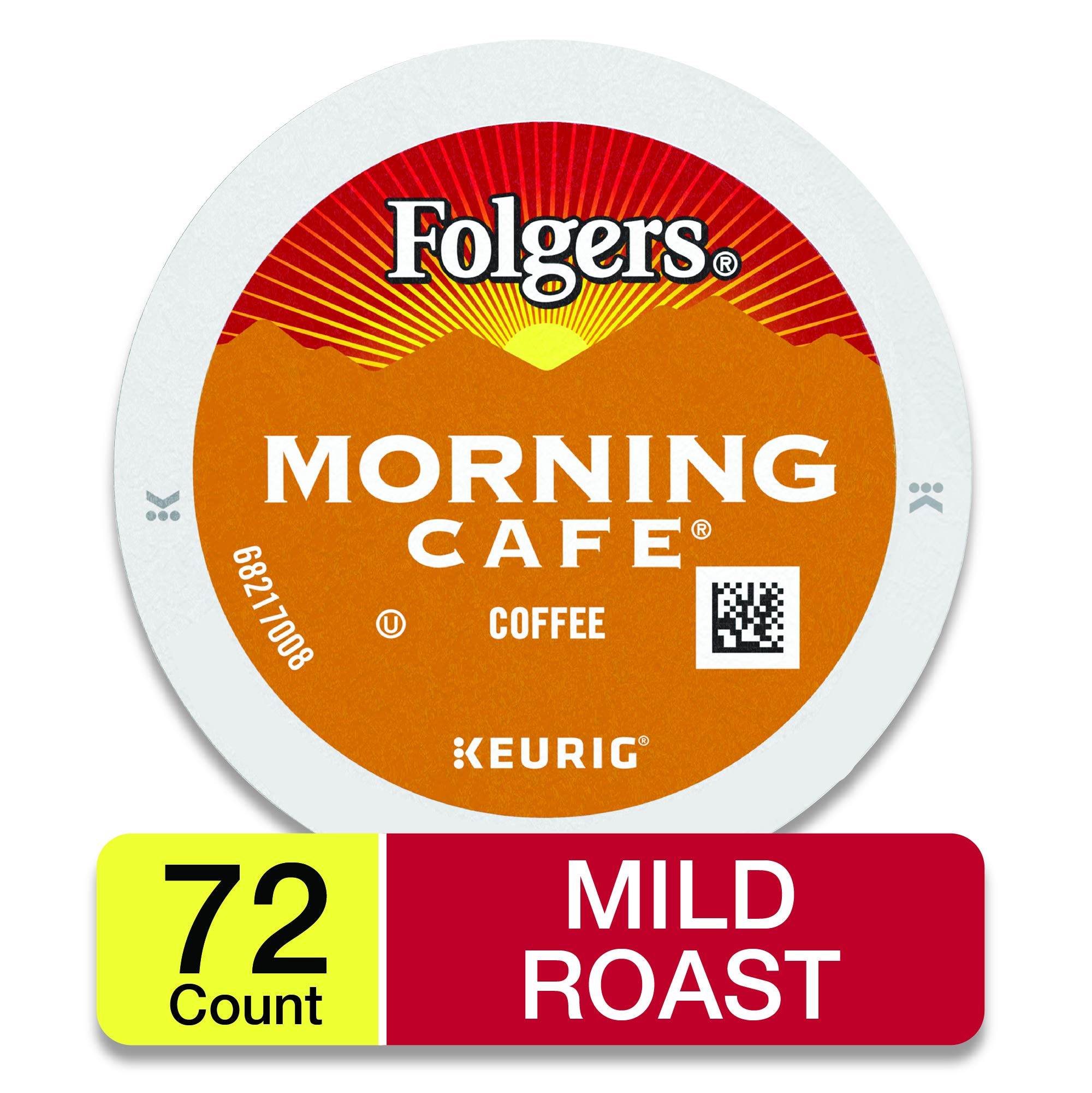 Folgers Morning Cafe, Mild Roast Coffee, K-Cup Pods for Keurig K-Cup Brewers, 12-Count (Pack of 6), Packaging May Vary by Folgers