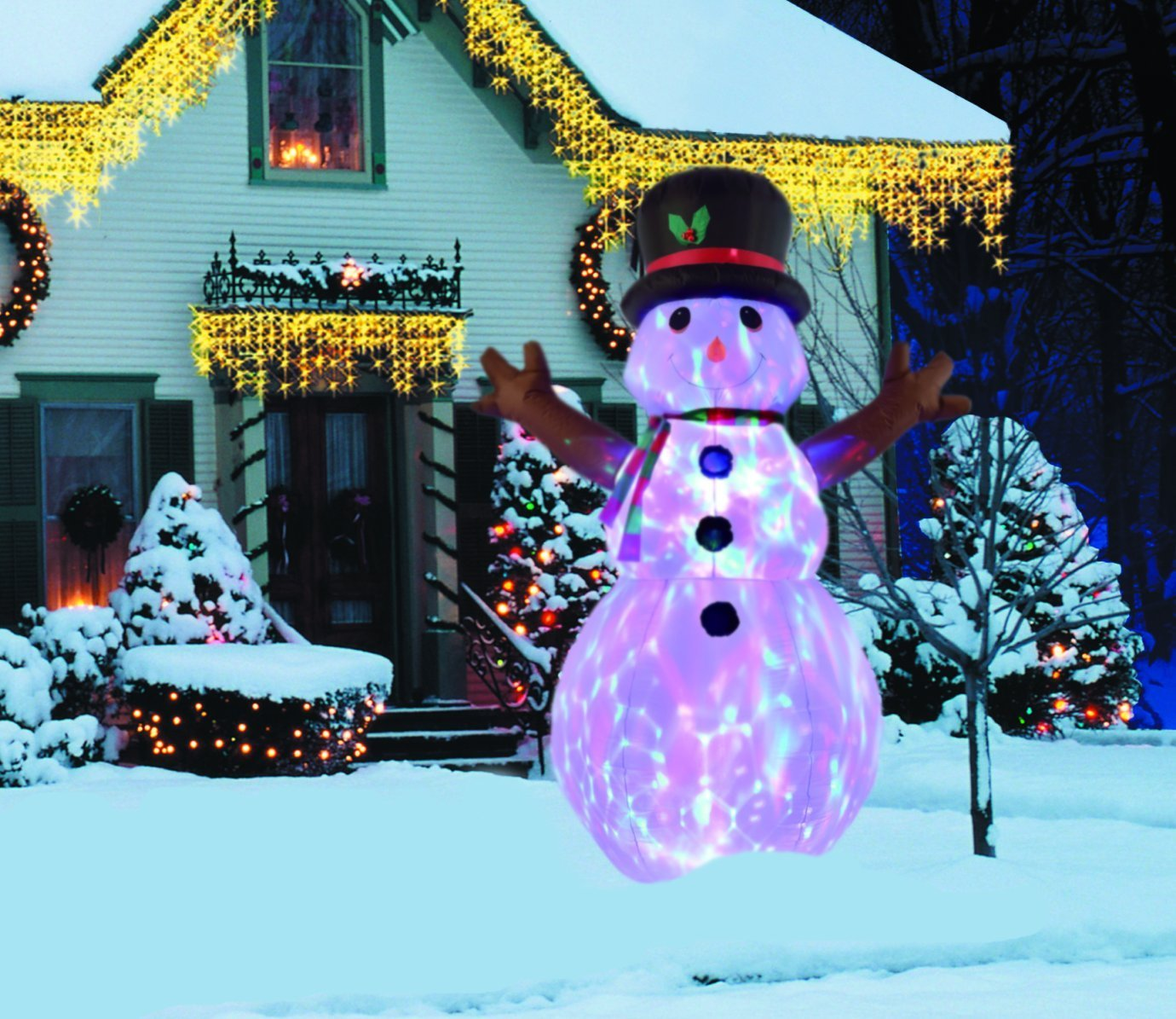 New 8 FT Inflatable Happy Flashing Snowman With Disco Lights Christmas X'mas Decoration