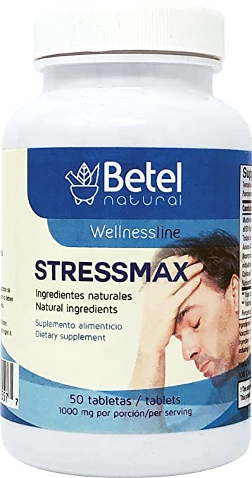 Stressmax Tablets by Betel Natural - Anxiety and Stress Relieving - 50 Tablets