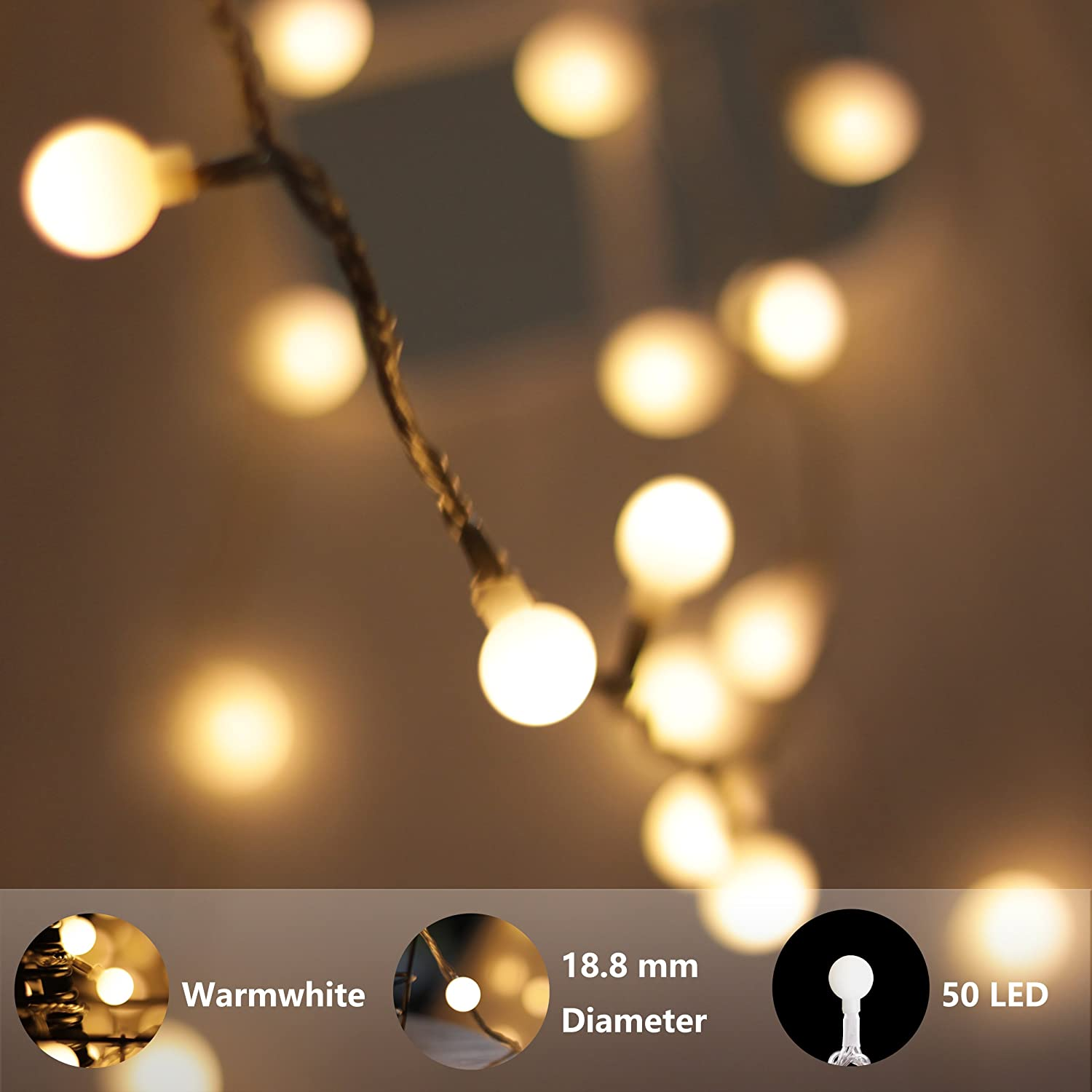 Patio 50 LED Decorative Warm White String Lights for Wedding Party Battery and USB Operated Garden Remote Control with Timer MCL/_50/_G/_B/_Flash Room Holiday myCozyLite LED Globe String Lights