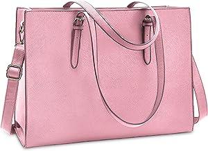 Laptop Bag for Women 15.6 Inch Computer Tote Bag Business Office Briefcase Waterproof Lightweight Leather Work Bag Large Capacity Handbag Shoulder Bag Professional Office Bag Pink