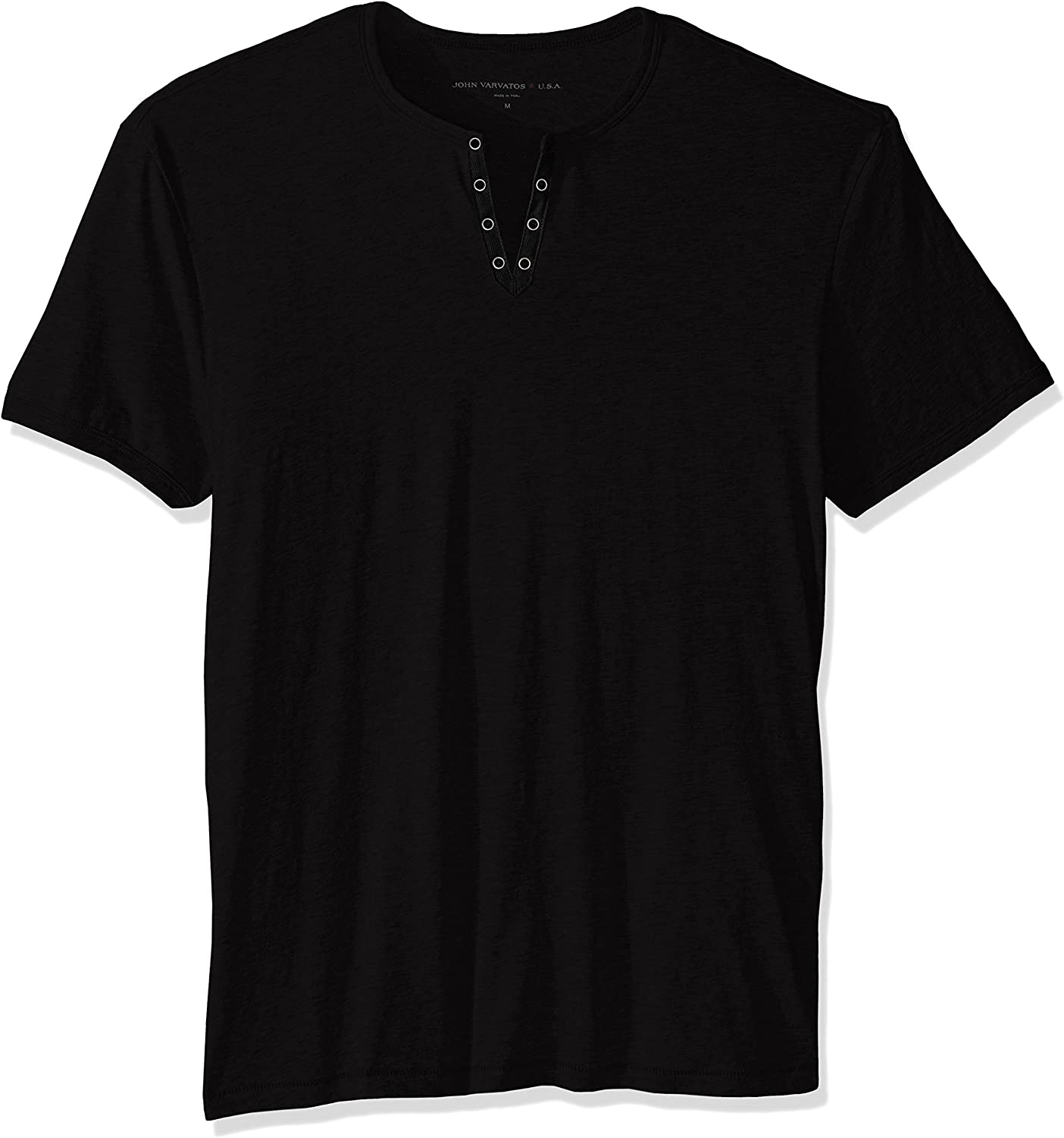 John Varvatos Star USA Men's SHORT SLEEVE EYELET HENLEY SHIRT, Black, Medium