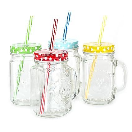 Amazoncom Mason Jar Mugs With Handle Multi Colored Lids And