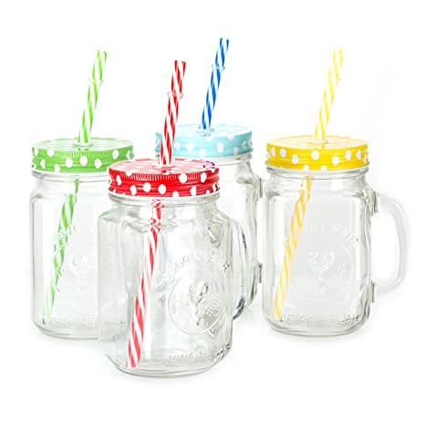 e10317ce8c0a Mason Jar Mugs with Handle, multi COLORED Lids and Plastic Straws. 16 Oz.  Each. Old Fashion Drinking Glasses - pack of 4 by Premium Vials