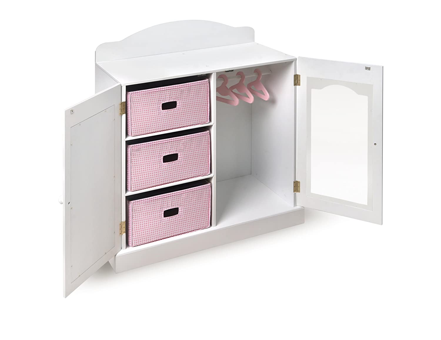 Merveilleux Amazon.com: Badger Basket Mirrored Doll Armoire With 3 Baskets U0026 3 Hangers  (fits American Girl Dolls), White: Toys U0026 Games