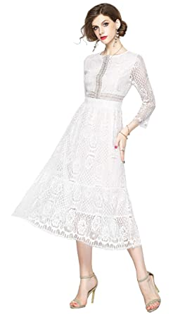 a0c7810b20c Lace Floral Fit   Flare Midi Cocktail Dress for Women Party Wedding White  at Amazon Women s Clothing store