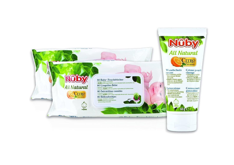 Nuby CGPACK2 - Set de 2 paquetes de 80 toallitas + crema pañal de 60 g: Amazon.es: Bebé