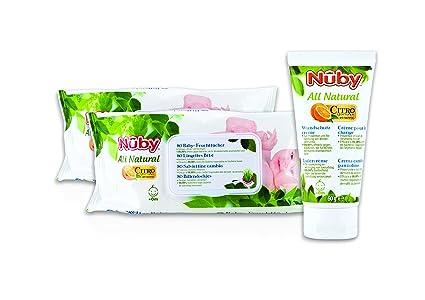 Nuby CGPACK2 - Set de 2 paquetes de 80 toallitas + crema pañal de 60 g
