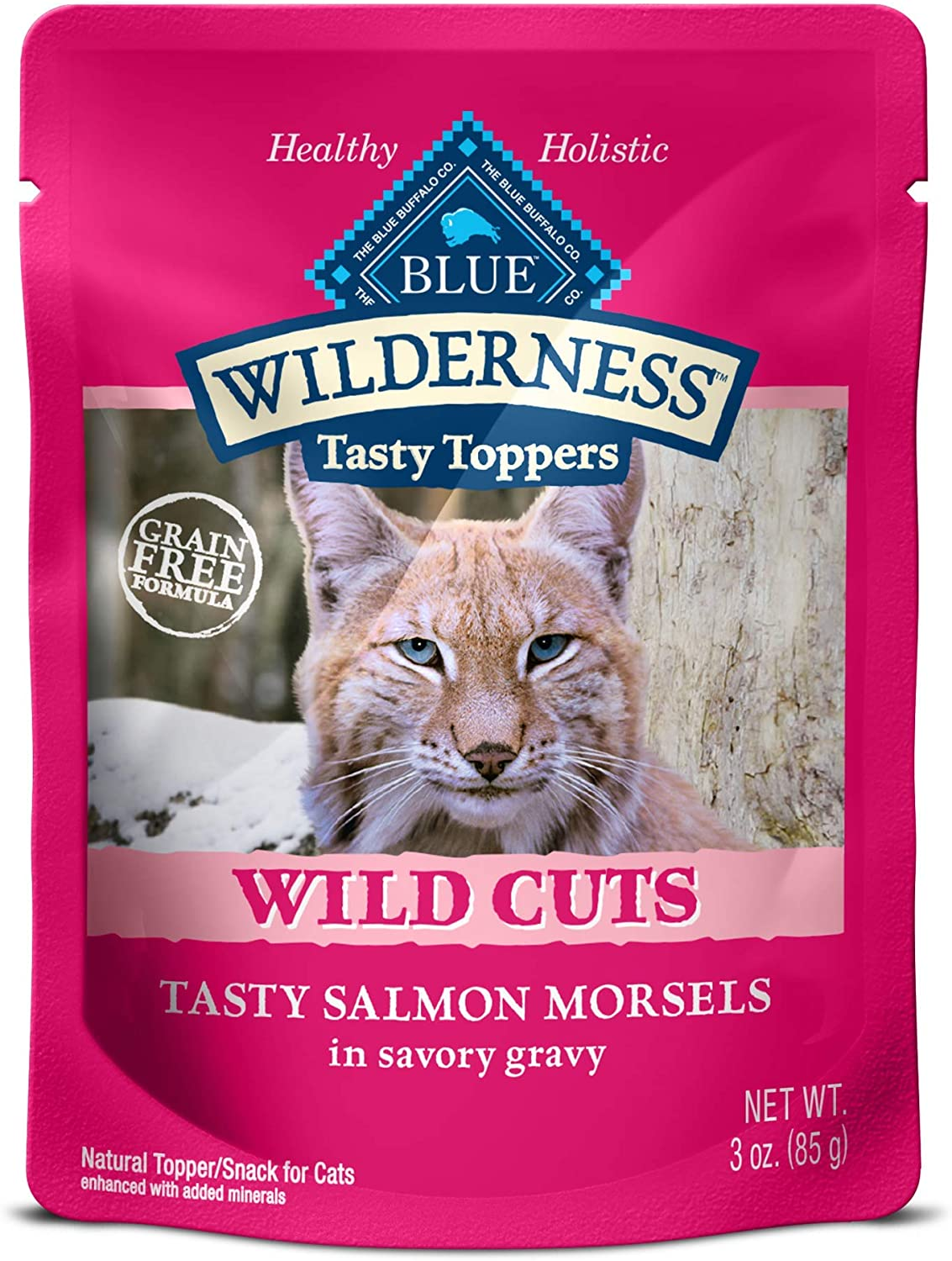 Blue Buffalo Wilderness High Protein Grain Free Natural Wild Cuts Adult Wet Cat Food Pouch, Salmon 3-oz pouches (Pack of 24)