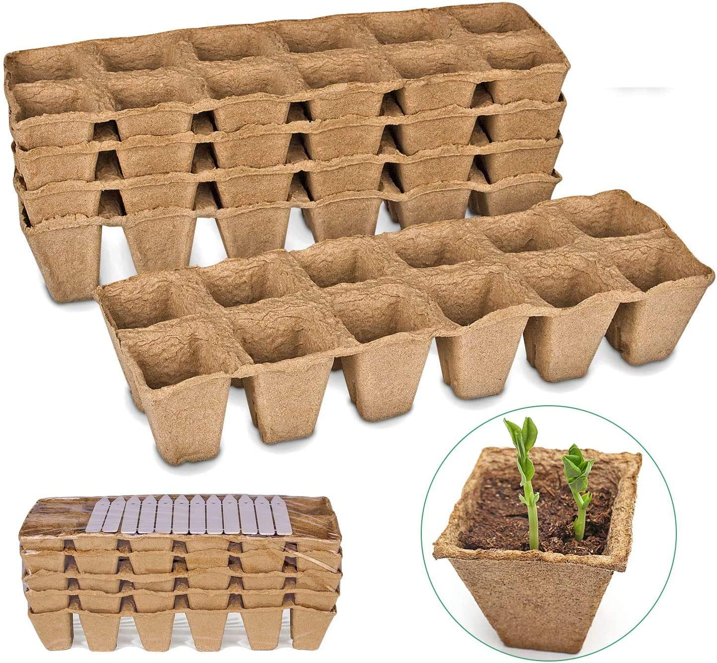Seed Starter Peat Pots Kit for Garden Seedling Tray ANGTUO 100% Eco-Friendly Organic Germination Seedling Trays Biodegradable 5 Pack - 60 Cells 18 Plastic Plant Markers Included