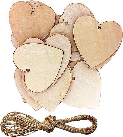New 50Pcs//set Wooden Love Hearts Shape DIY Hanging Heart Plain Craft Little