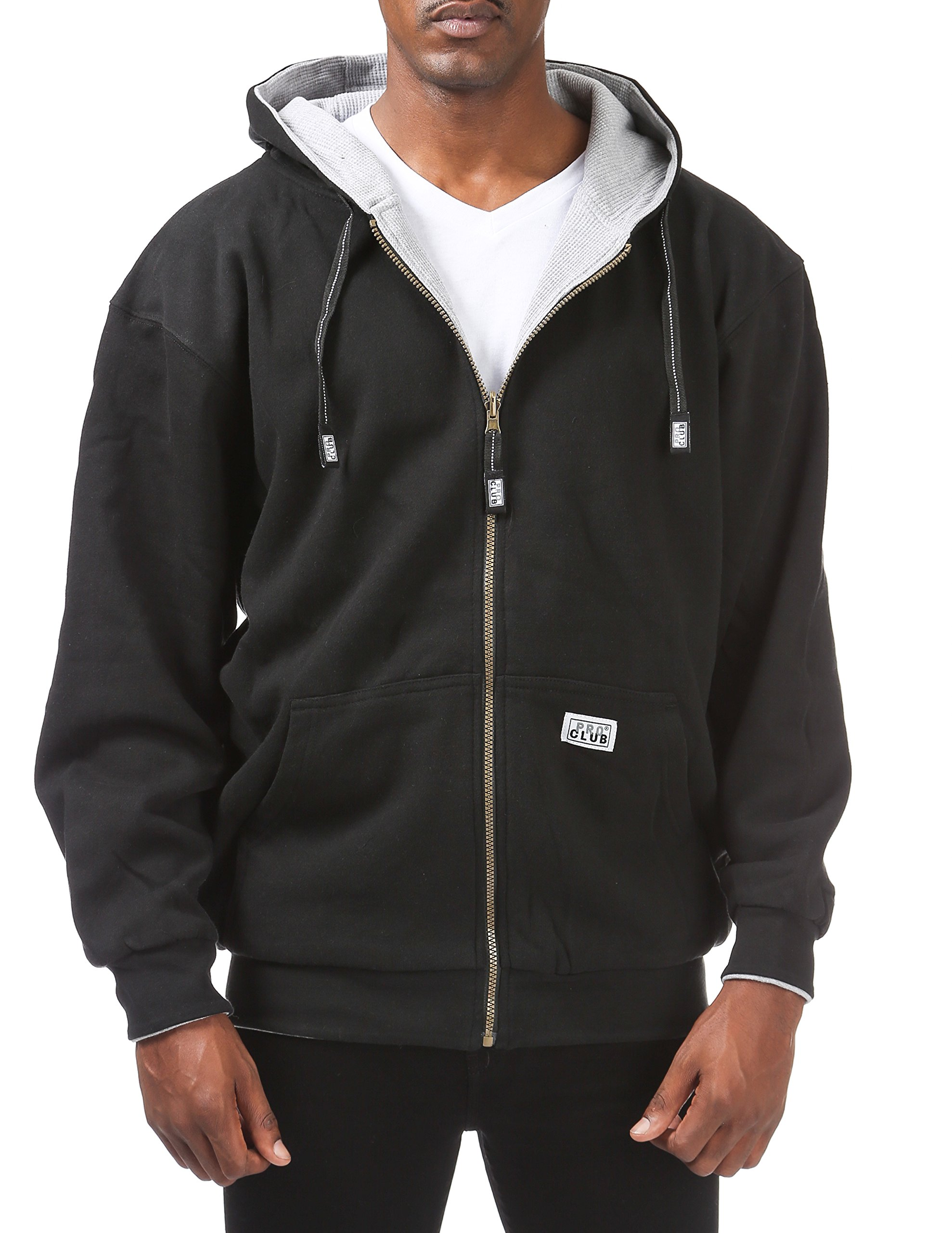 Pro Club Men's Full Zip Reversible Fleece and Thermal Hoodie, Large, Black/Heather Gray