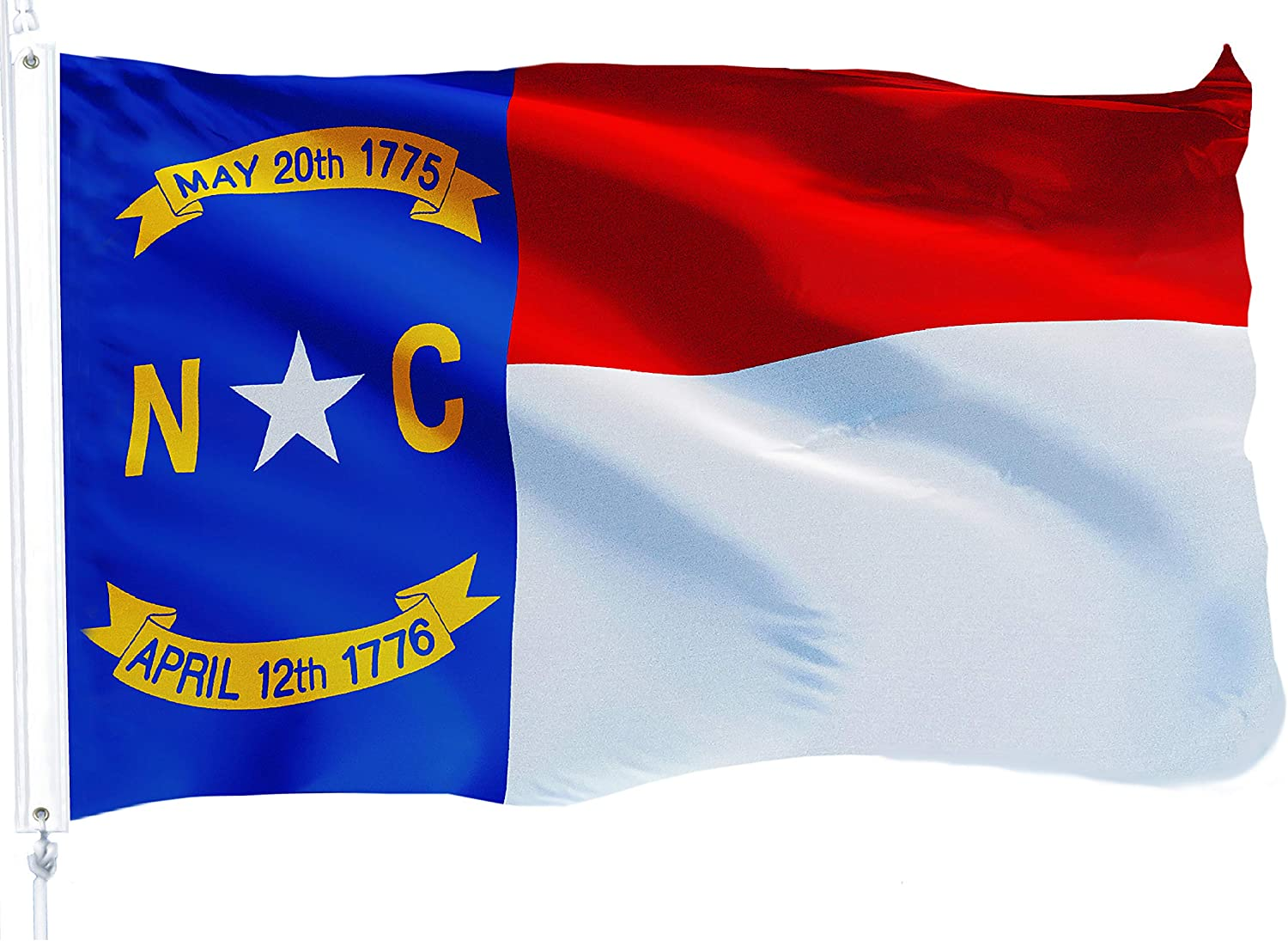 G128 – North Carolina State Flag | 3x5 feet | Printed 150D – Indoor/Outdoor, Vibrant Colors, Brass Grommets, Quality Polyester, Much Thicker More Durable Than 100D 75D Polyester