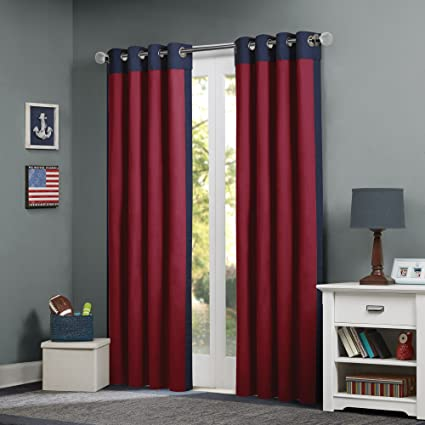 Mi-Zone Red Curtains for Living Room, Casual Grommet Room Darkening  Curtains for Bedroom, Liam Solid Window Curtains, 50X84, 1-Panel Pack