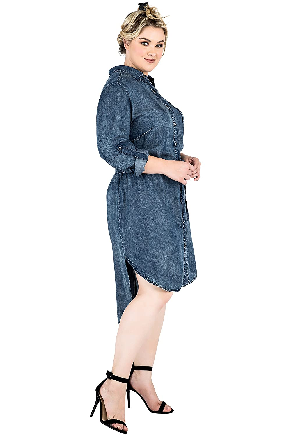 589a1fc4ca2 Standards   Practices Plus Size Tencel Shirt Dress at Amazon Women s  Clothing store