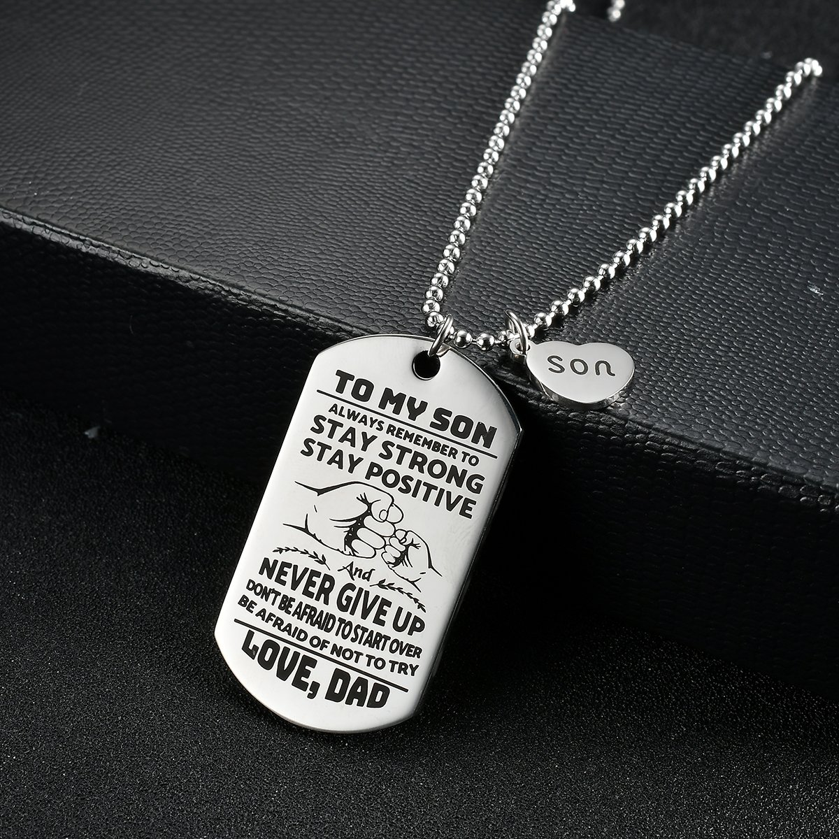 NOVLOVE To My Son from dad Never Forget That I Love Dad You Dog Tag Father Daddy Stay Positive Never Give Up Quotes Military Air Force Navy Necklace Gift Best Son Birthday Graduation by NOVLOVE (Image #3)