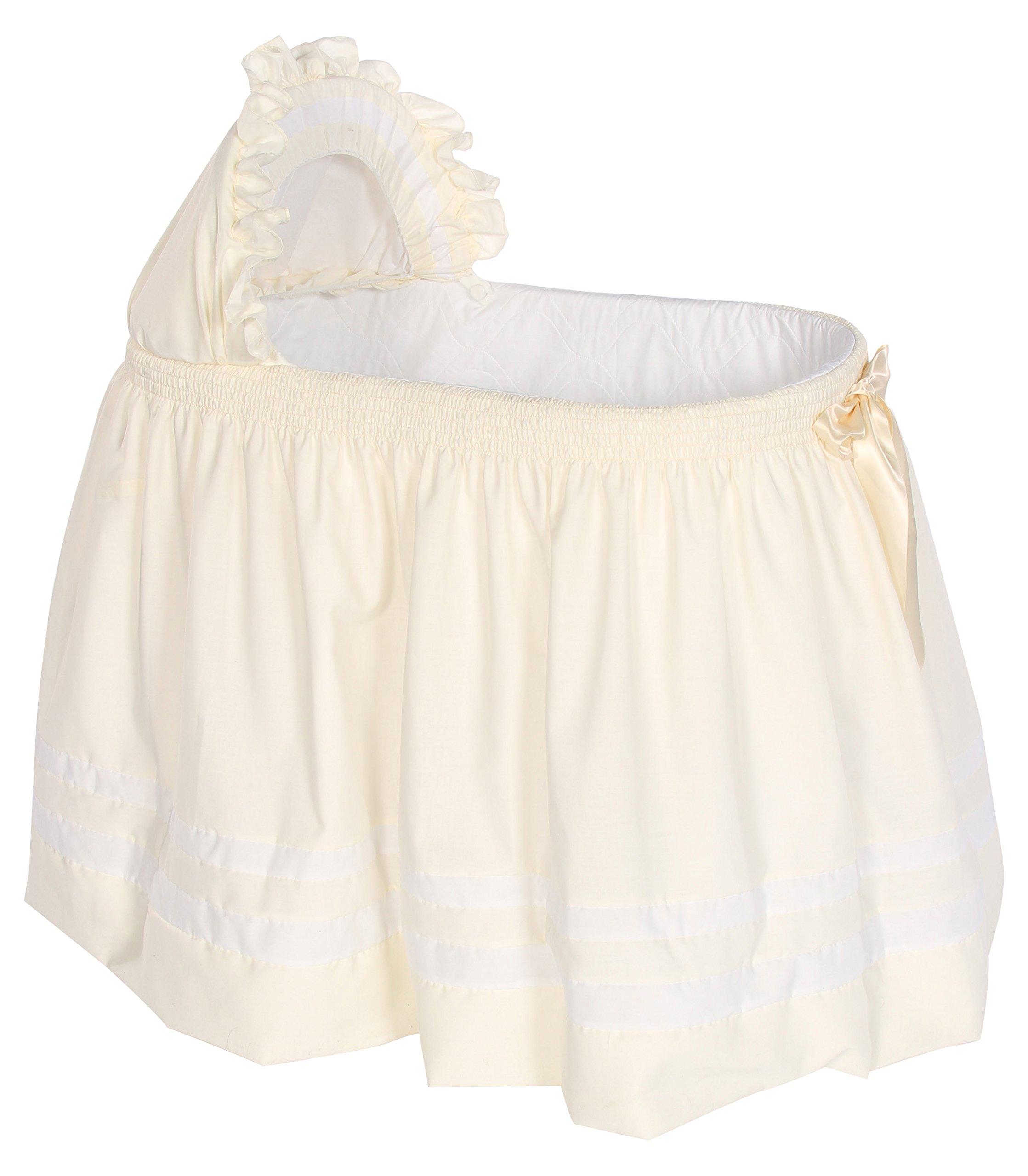 Babykidsbargains Lillian Bassinet Liner Skirt and Hood, Ivory/White, 16'' x 32''