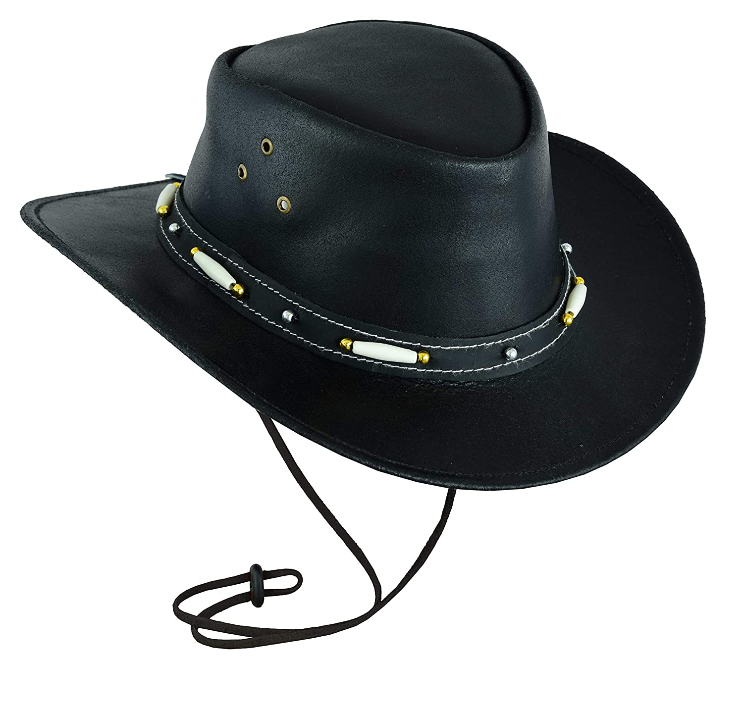 Black Classic Western Style Cowboy Leather hat