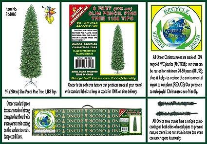9 slim pencil pine artificial christmas tree unlit