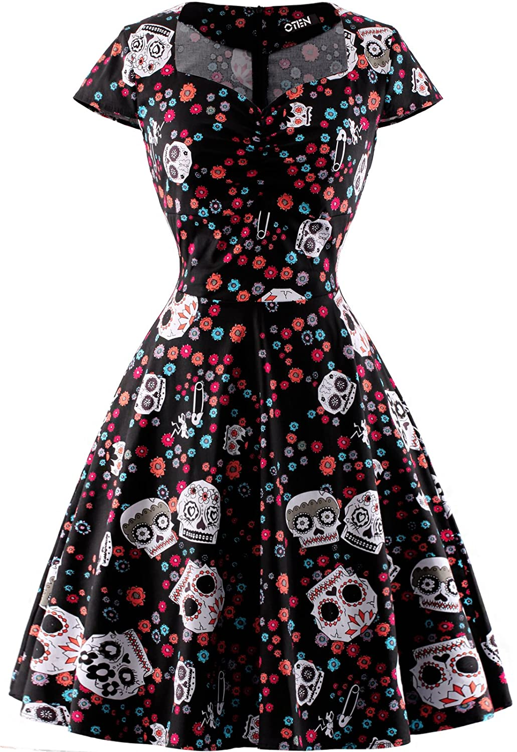 d8dd1a8477fe OTEN Women s Polka Dot Sugar Skull Vintage Swing Retro Rockabilly Cocktail  Party Dress Cap Sleeve at Amazon Women s Clothing store