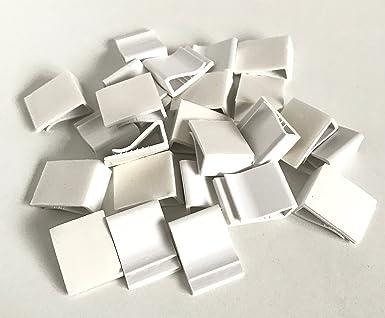 25x Kabelhalter weiß aus Kunststoff selbstklebend zur Befestigung ...