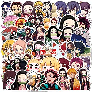 Demon Slayer: Kimetsu no Yaiba Stickers for Water Bottle 50 Pack Computer Laptop Trendy Sticker for Hydroflasks Teens Girls,Vinyl Aesthetic Decal Sticker Luggage (Demon Slayer: Kimetsu no Yaiba)