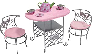Badger Basket Tea Time Metal Doll Table and Chair Set with Table Cloth and Accessories - Silver/Pink/Multi