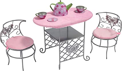 Amazon Com Badger Basket Tea Time Metal Doll Table And Chair Set With Table Cloth And Accessories Silver Pink Multi Toys Games