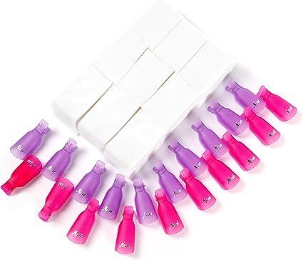Clip para capuchas para uñas Disolvente para esmalte gel 20 piezas con 900 piezas almohadillas de algodón para uñas: Amazon.es: Belleza