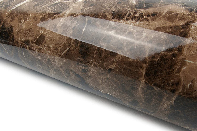 Marble Look Film Brown High Glossy Granite Effect Vinyl Self Adhesive Peel-Stick Brown Counter Top (2' X 6.56 ft)