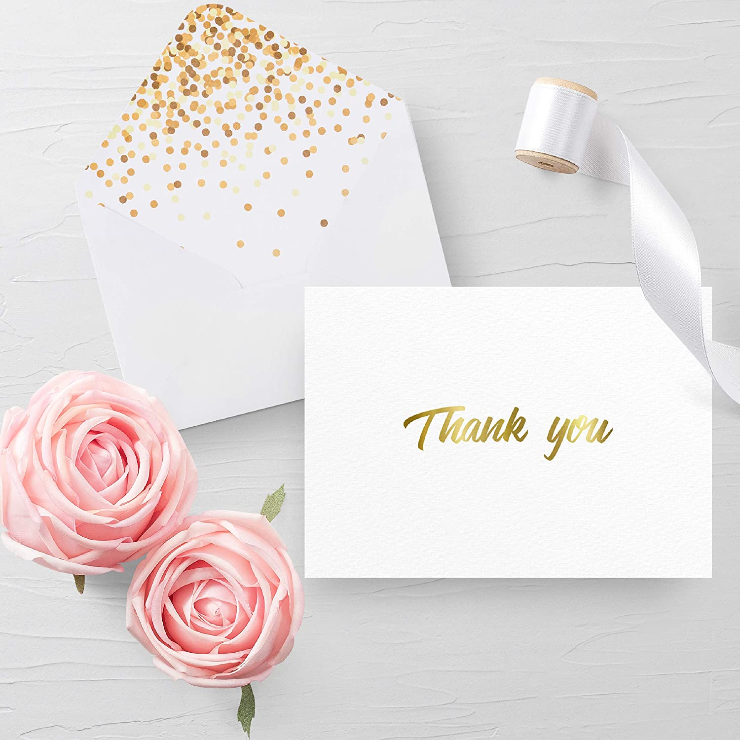 100 thank you cards with envelopes thank you notes white gold 100 thank you cards with envelopes thank you notes white gold foil blank cards with izmirmasajfo